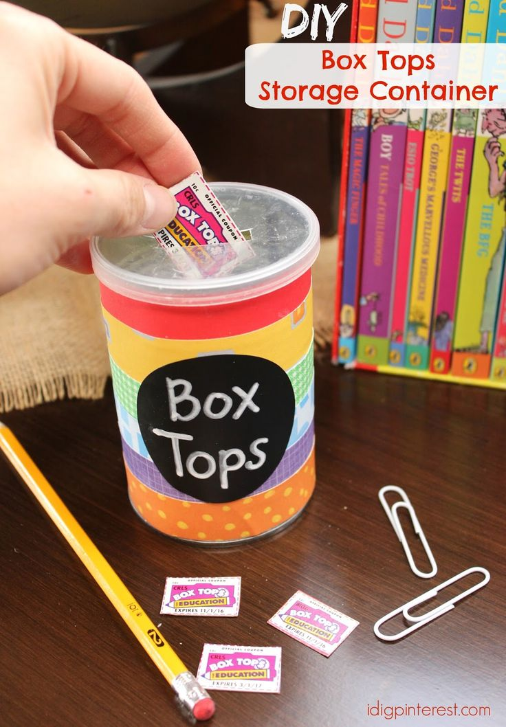 DIY Box Tops Storage Container.  Make this cute and simple upcycled can project in 10 minutes or less, to store those Box Tops for the kids' school! #SchoolSupplied #CG