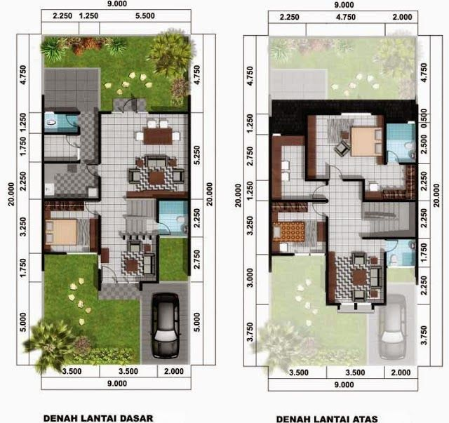 denah rumah minimalis type 21 2 lantai