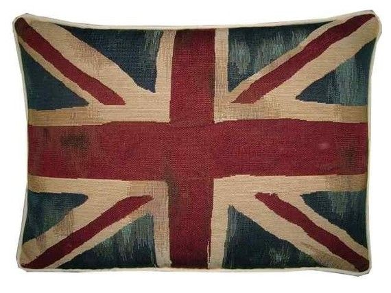 Vintage Union Jack British Flag Tapestry Cushion Pillow