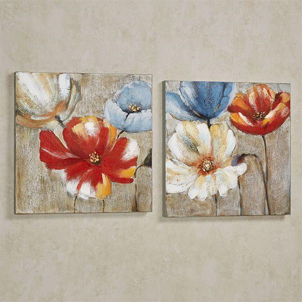 Joyful Garden Floral Canvas Wall Art Set Floral Wall Art Canvases Canvas Wall Art Set Flower Art Painting