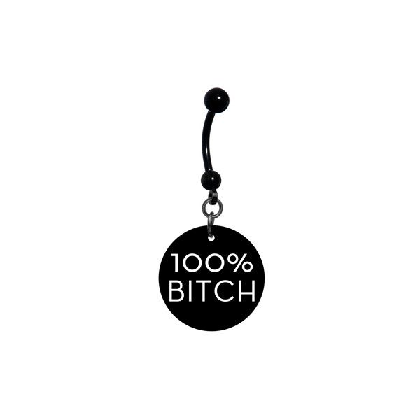 Black White 100 Percent Bitch Belly Ring | Body Candy Body Jewelry ❤ liked on…