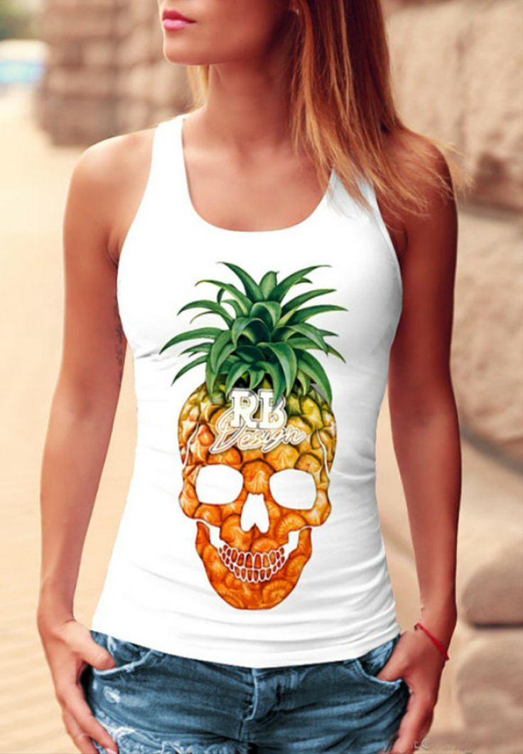 Fashion Skull Pineapple Printed Tank
