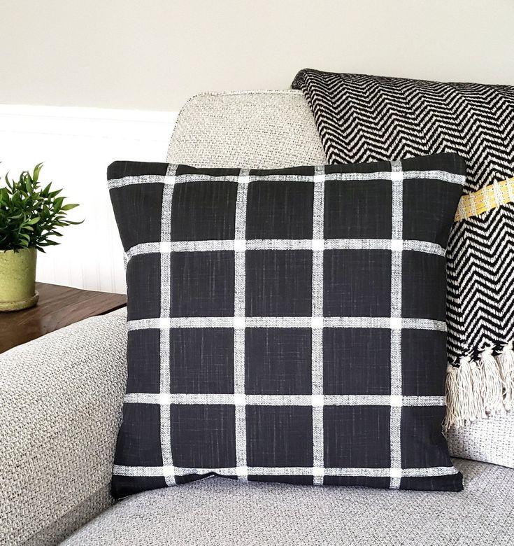 Black windowpane check throw pillow cover farmhouse
