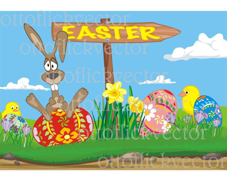 FUNNY HAPPY EASTER vector card, spring meadow clipart eps, ai, cdr, png, jpg, easter bunny, easter chicken and eggs, spring meadow signboard by ottoflickvector on Etsy