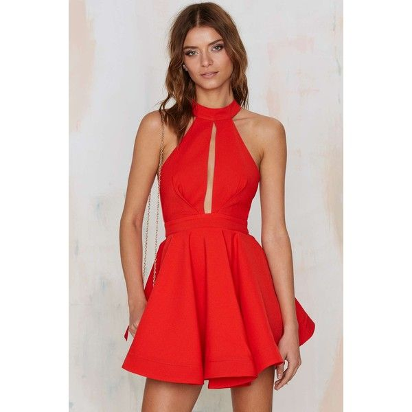 Shanghai Surprise Cutout Dress (46.910 CLP) ❤ liked on Polyvore featuring dresses, red, red dress, holiday party dresses, fit and flare party dress, night out dresses and cut out dress