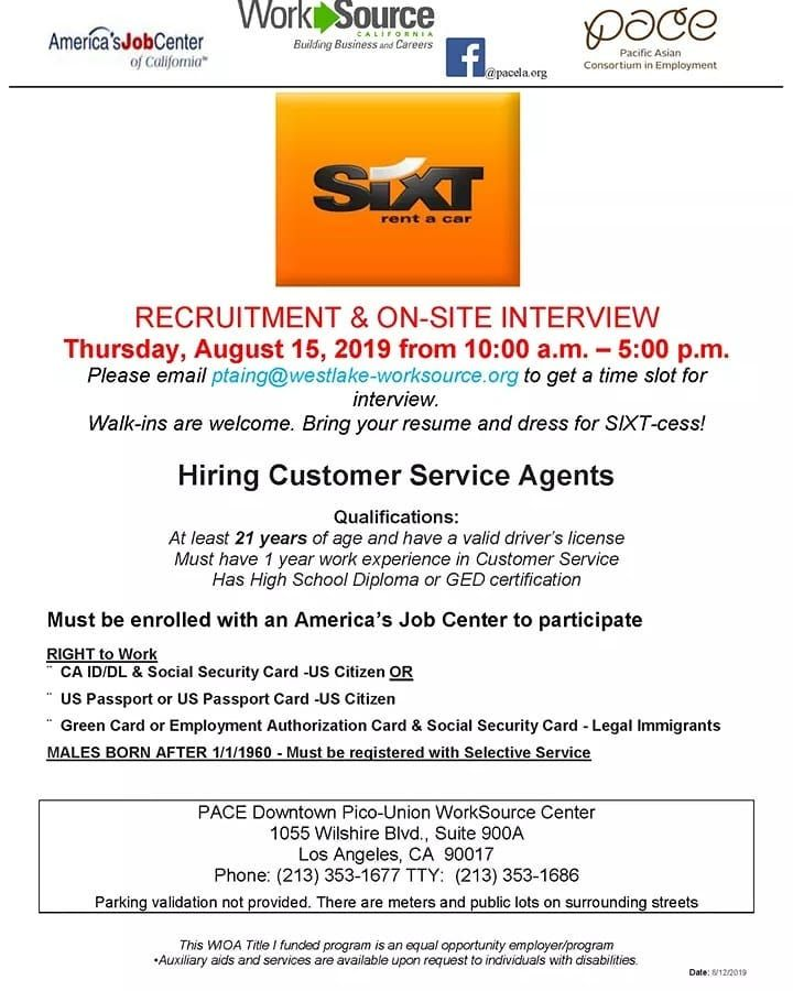 Pace Will Be Hosting A Jobrecruitment And On Site Interviews For Sixt Rent A Car This Thursday August 15th At 1 Job Center Los Angeles Jobs Car Rental Company