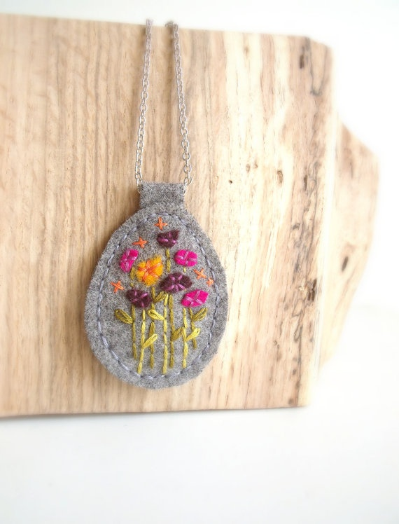 Wildflower Felt Pendant Handmade Jewelry by ThePennyRunner on Etsy, $25.00