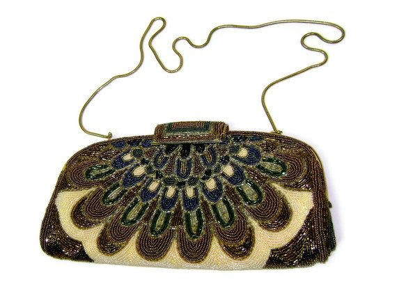 1950s/1960s Beaded Purse in Art Nouveau inspired Peacock Feather Design, $42.00