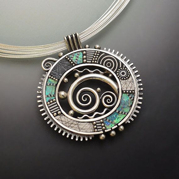 Sterling Silver Pendant with graphic lines, black and white polymer metal squiggles swirls iridescent faux opal twirls bead ball chain