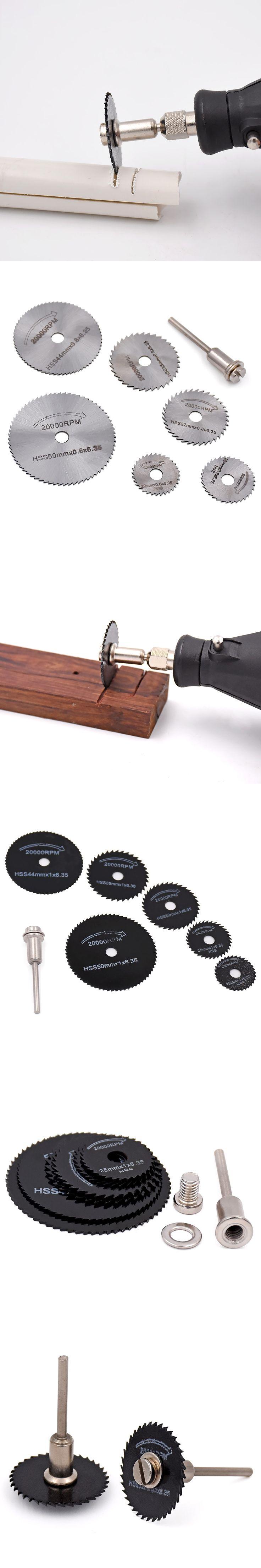7pcs/set Mini HSS Circular Saw Blade For Dremel Accessory Metal Cutter Power Tool Set Wood Cutting Discs Drill Mandrel Cutoff