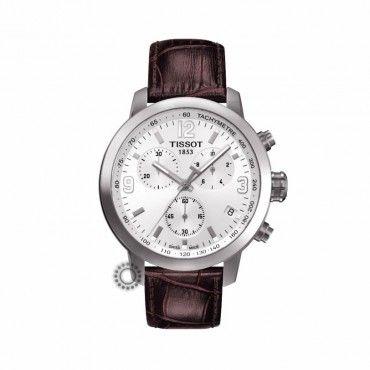 TISSOT ρολόγια ΤΣΑΛΔΑΡΗΣ | T0554171601701 | TISSOT T-Sport PRC 200 white | Ανδρικό σπορ ρολόι TISSOT PRC 200 χρονογράφος με λευκό καντράν & καφέ λουρί #Tissot #prc200 #χρονογραφος #λουρι #ρολοι