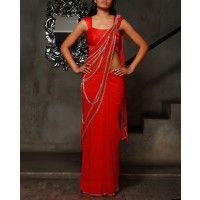 Traffic Red Sari with Bugle Beaded Patterns