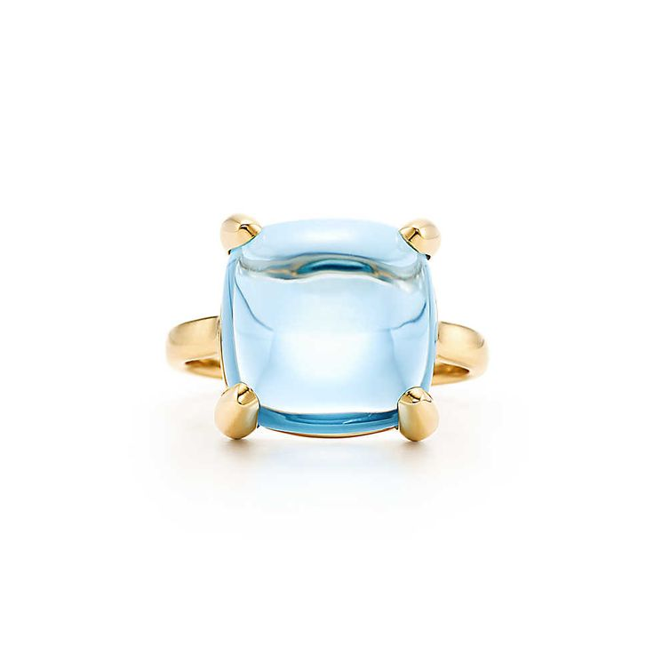 Tiffany & Co. PALOMA'S SUGAR STACKS Ring Luscious colors, designed to be stacked or worn alone. In 18k gold with a blue topaz. Carat weight 8.00. Original designs copyrighted by Paloma Picasso. RING SIZE 5 $1,350