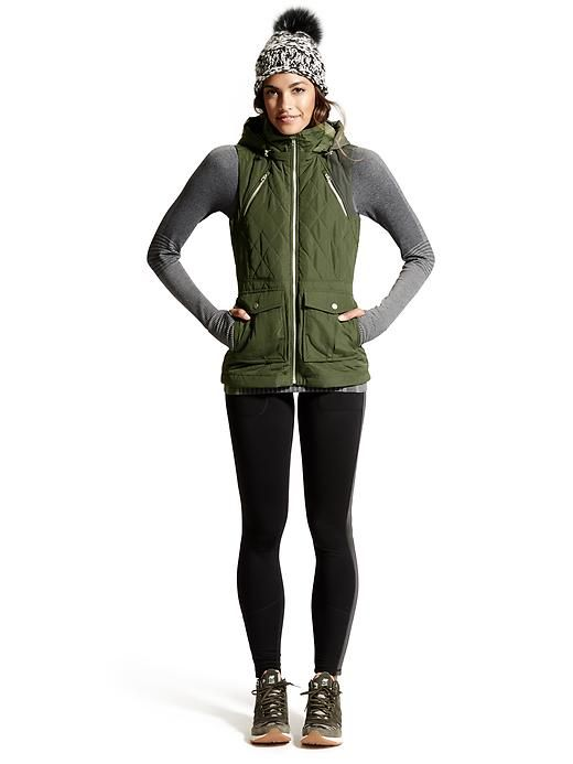 Looks We Love: Walking/Hiking | Tetons Vest $148, Ribbed Remarkawool Turtleneck $84 + Street to Summit Tight $98 | Athleta