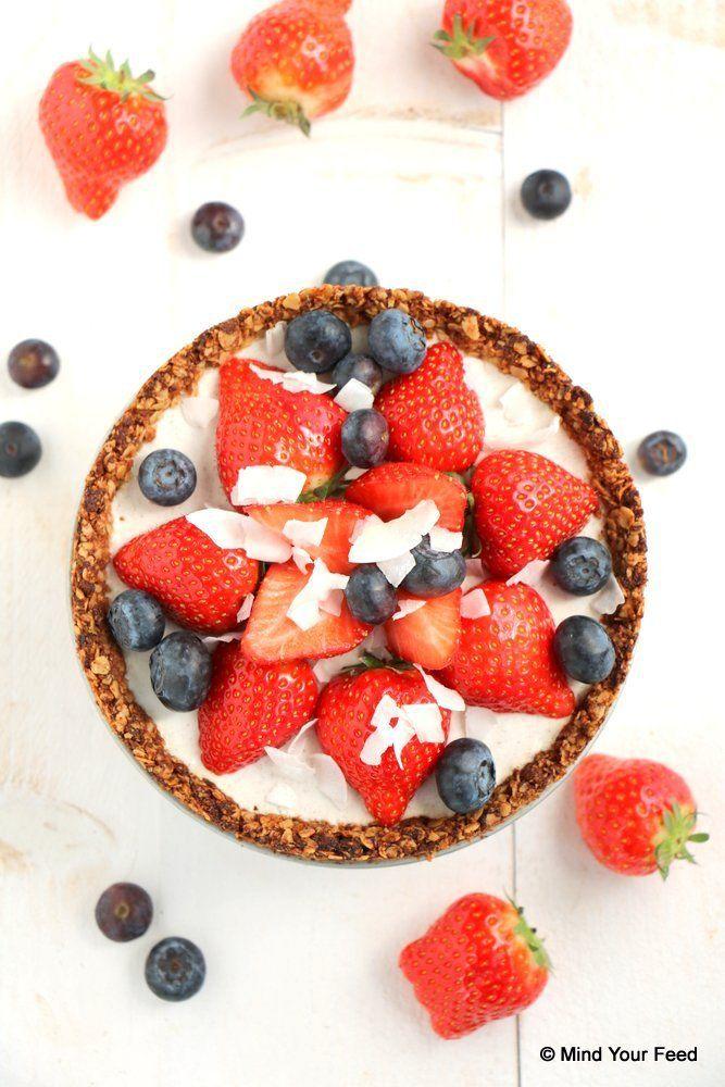havermout aardbeien taart van MindYourFeed