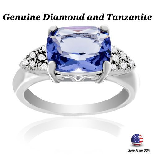 Diamond Accent & Emerald Cut Tanzanite Gemstone Ring #Bliss #SolitairewithAccents #Any