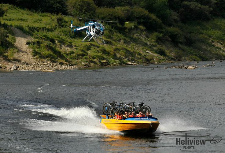Meeting mountain bikers off the Bridge To Nowhere jetboat, after completing the Mangapurua Track.