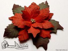 Рождественская звезда ПУАНСЕТТИЯ из бумаги. Шаблоны и мастер-класс (9) (700x525…