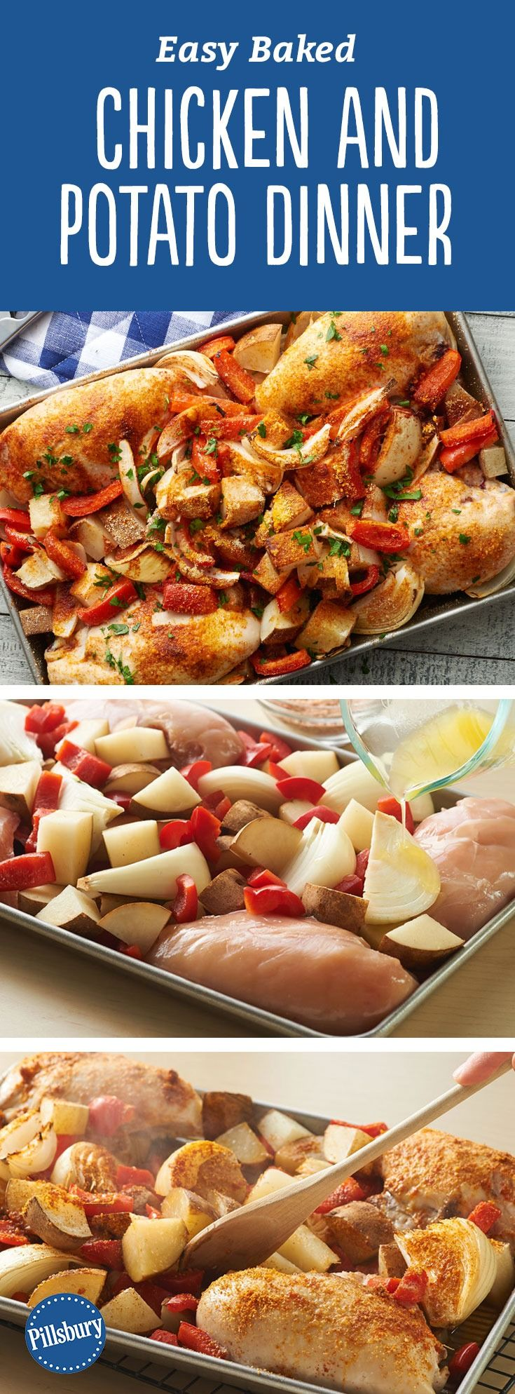 Easy Baked Chicken and Potato Dinner - Stress-free baked dinner ready in less than an hour! Enjoy this delicious chicken and potatoes meal.