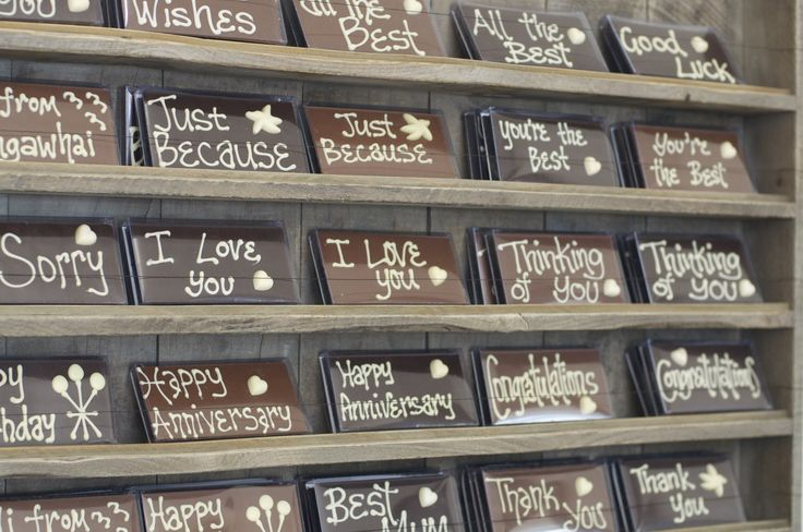 Say it with chocolate. Bennetts of Mangawhai 'Message Bars.'