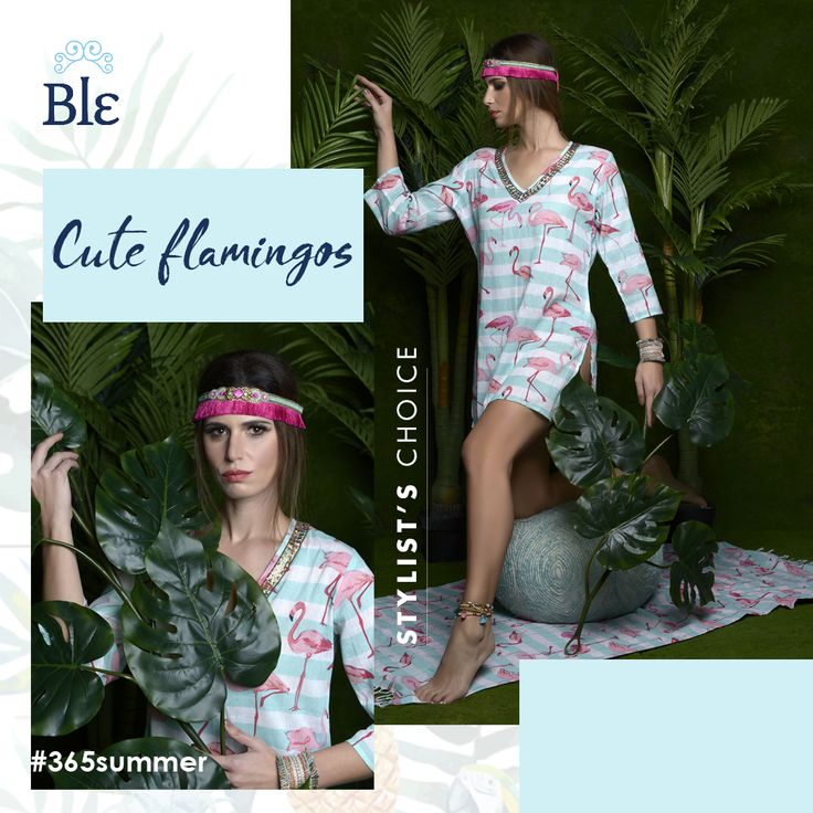 Say hello to this season's hottest trend: tropical kingdom!  Patterns that adore the tropical life - plants, animals, views - are seen on blouses, kaftans, skirts and dresses.  Go super cute with this flamingo dress in super exciting colours!