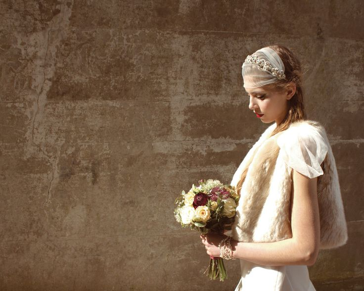 Bridal faux fur gilet by Blanche in the Brambles. Bohemian bridal look. Headdress by Hermione Harbutt.