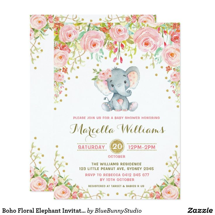 816 best baby shower invites cards stamps more images boho floral elephant invitation pink baby shower filmwisefo Choice Image