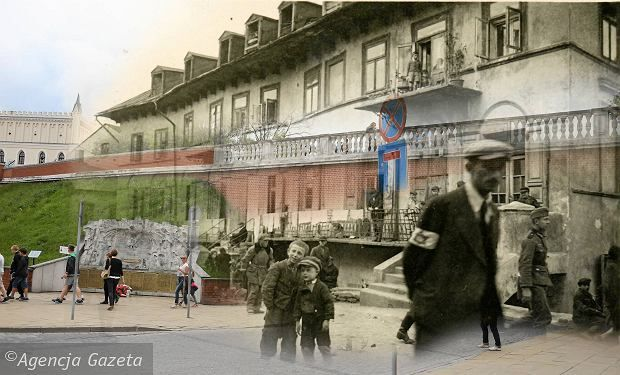 Then and now, Szeroka street - Lublin. The Podzamcze district was destroyed in 1942-1943 after its Jewish residents were killed at Belzec, Majdanek, Sobibor in gaz chambers, and at Majdan Tatarsky and in Lublin by bullets.