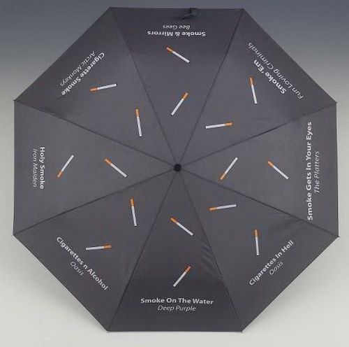 Smokers Umbrella - Just a great example on the huge printing surface of an umbrella. Imagine your brand printed on all sides - people can see it everywhere you turn! - Visit us at http://www.budgetpromotion.com.au/products-promotional/promotional-umbrellas/ on how you can make this happen! #Personalised #Umbrellas