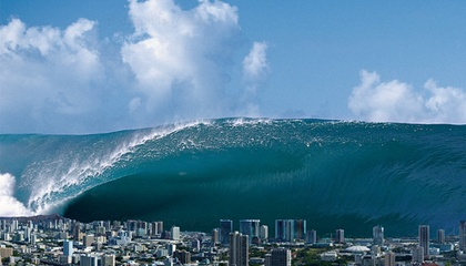 A massive tidal wave, several thousand feet high, rearing ...