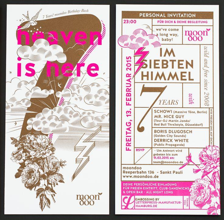 7 years invitation moondoo letterpress | letterpress
