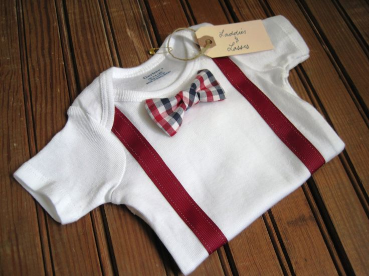 add bowtie and ribbon suspenders to a basic onsie - shower gift idea for baby boys
