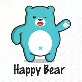 Happy Bear logo (This logo is ideal for toys shop, company for kids, and any related businesses).