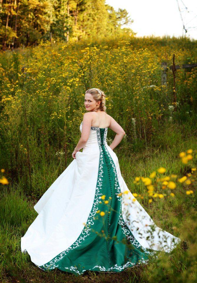 green wedding dresses   Ashley incorporated her favorite color into her wedding dress with ...