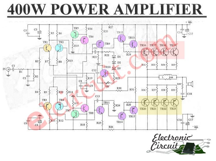 2000 Watts Power Amplifier Schematic Diagram Telephone Connection Wiring 400w Sanken C2922 A1216 Audio Circuit Electronics Projects