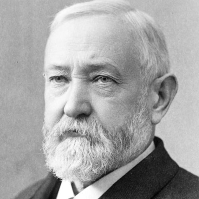 President Benjamin Harrison (b.1833-d.1901) was the grandson of 9th President William Henry Harrison. B. Harrison's term of office was sandwiched in between the two administration's of Grover Cleveland.