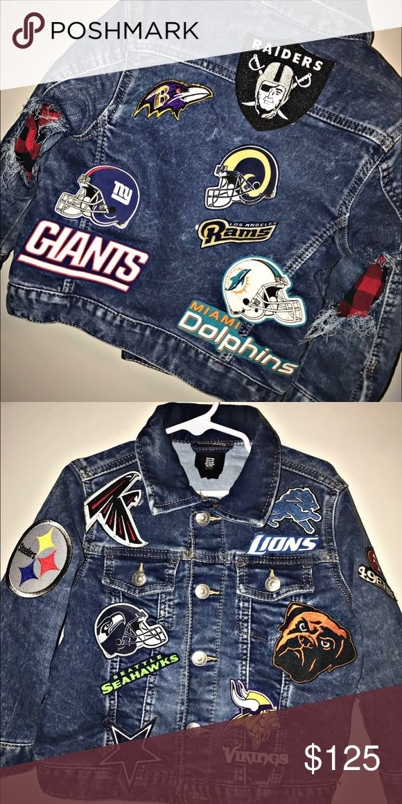 "Custom made Kids Denim patch football jacket 👦🏽Kids Denim Patch🏈FootBall🏉 Jacket available for SALE!! CUSTOM MADE‼️ Want your baby Jacket patch OUT❓Just log on website or D.M me to place your order ""🎀Girl & Boys""👧🏽👦🏻 available!! All theme!! Any color!! Join the wave 🌊 #DenimJacket #DenimJeanJackets #JeanJacket #CustomJacket #CustomPatchJacket #Patches #DenimPatchJacket MORE TO COME🏉🏀🌈🌹🌷🐊🐬🦄🦋💋💄😍😍 @babyboss_jay Jackets & Coats Jean Jackets"