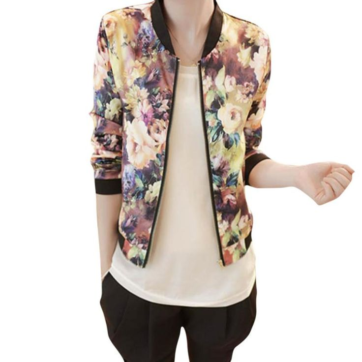New style !!! 2017 women Jacket Spring Short Tops jackets Women Stand Collar Long Sleeve Zipper Floral Printed Bomber Jacket A 5