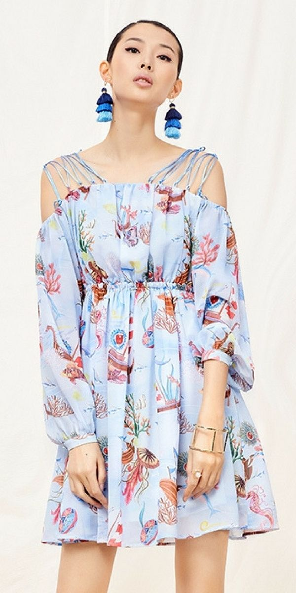 Yunsimuxiang Deep Sea Print Dress #bohointernal
