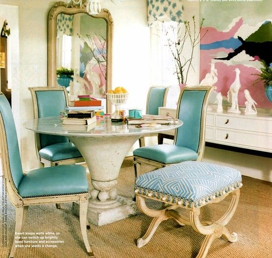 Best  Turquoise Chair Ideas On Pinterest Small Round Kitchen - Blue dining room chairs