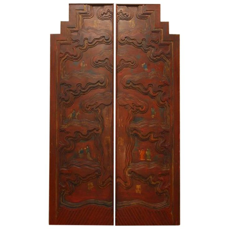 Chinese Carved Temple Courtyard Door Panels - A Pair on Chairish.com