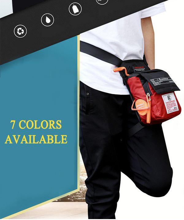 Men Women Nylon Drop Leg Bag Motorcycle Riding Sport Belt Waist Fanny Pack Crossbody Shoulder Bag