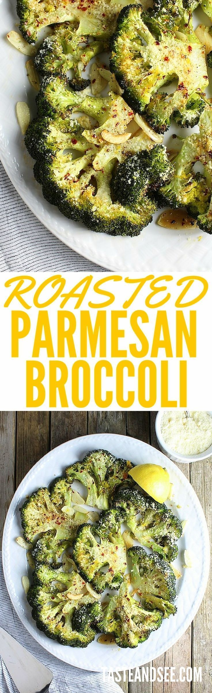 Roasted Parmesan Broccoli - with olive oil, Parmesan cheese, sliced garlic, lemon zest.  Super simple & healthy, this is a yummy, easy veggie dish.  http://tasteandsee.com