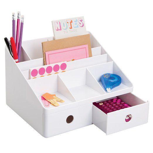 Amazon.de: mDesign Büromaterialien-/Schreibtisch-Organizer für Post, Stifte, Kugelschreiber, Textmarker, Klebeband - Weiß