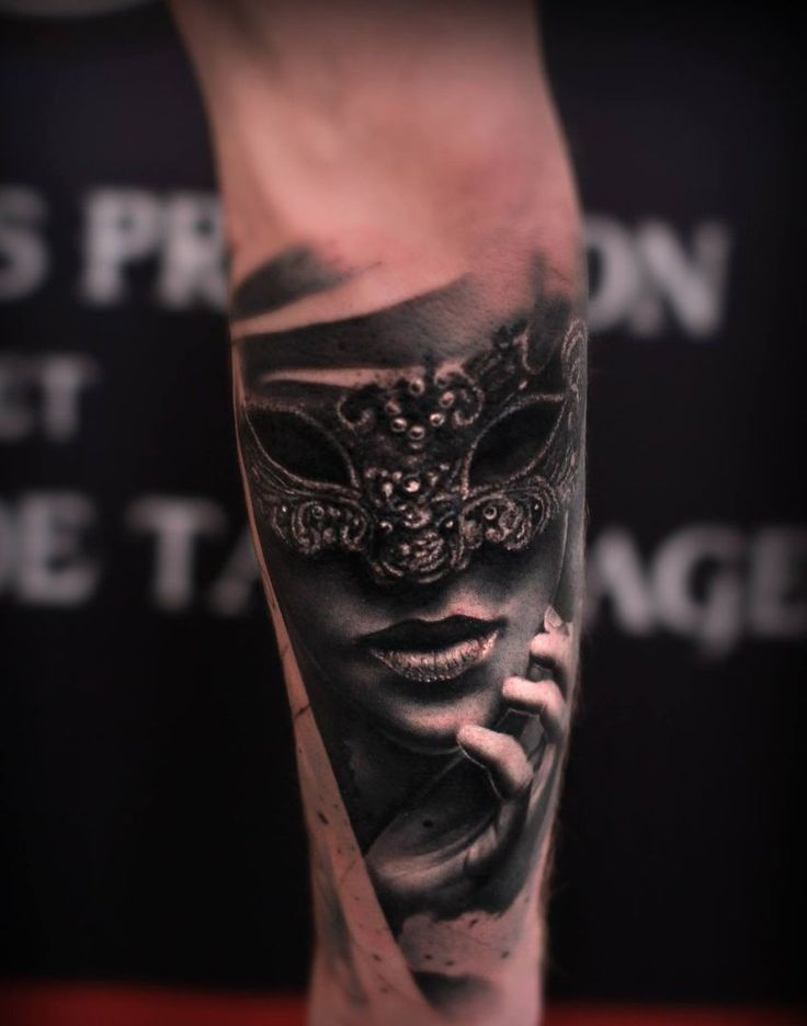 50 of the Most Beautiful and Mysterious Venetian Mask Tattoos and Their Meaning | KickassThings