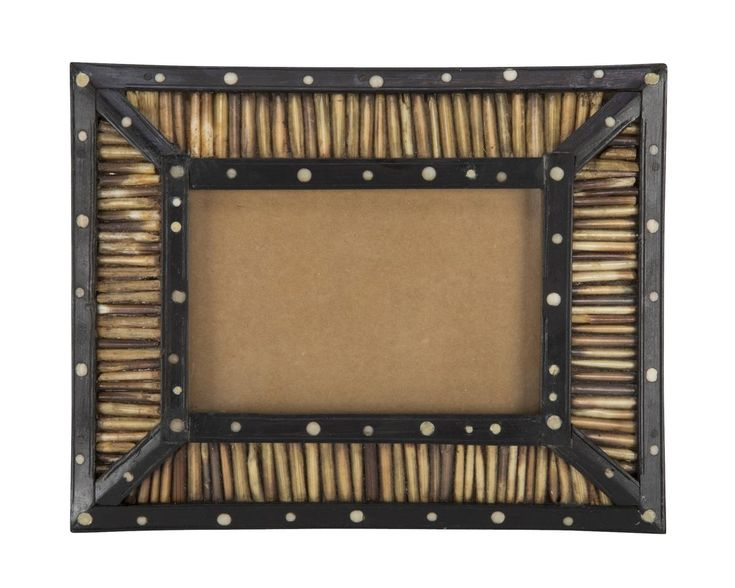 Unusual Anglo-Indian frame with porcupine quills set in rosewood with circular bone inlay. Made in colonial Ceylon, present day Sri Lanka.  Circa 1890.  7.75 H x 6.25 W x 1 D