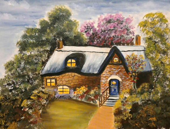Acrylic Painting English Country Cottage, Character Cottage UK, Thatch Roof Cottage, Vintage Building, Scenic Country Painting, UK Etsy, Art