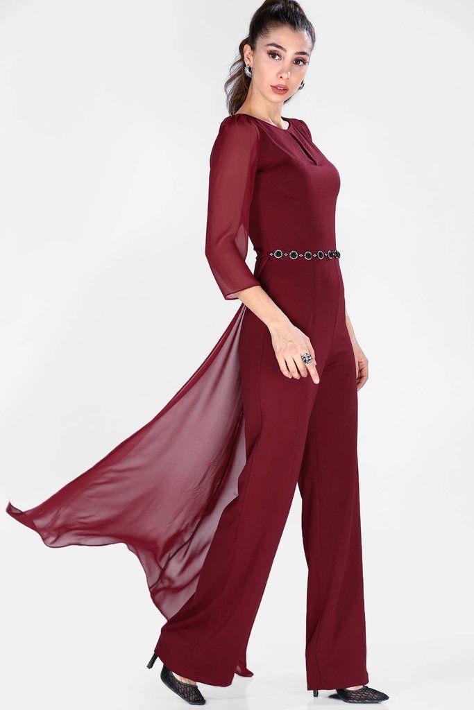 أوفرول عنابي مطرز بفصوص نسائي Bib And Brace Overalls Women Claret Red