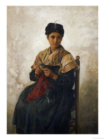 European woman, 19/20th C., sitting in chair with knitting, looking off to right.