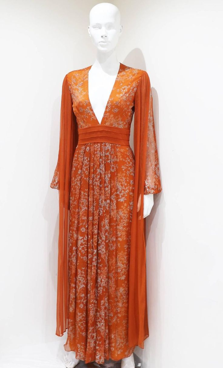 Thea Porter Couture silk chiffon evening dress, c. early 1970s 7